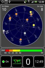 Скриншот к файлу: GPS Test - Информация о спутниках, текущее местоположение, время